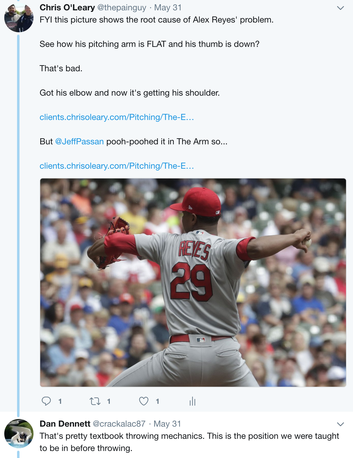 Chris O'Leary Tweet About Alex Reyes